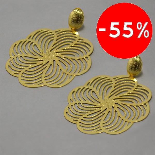 Joyas bañadas en oro por mayor, Aros. Aro de 55mm forma de flor tarbajo filigrana enchape oro 18K-Súper Ofertas-OFERTA JOYAS BAÑADAS-EE0078