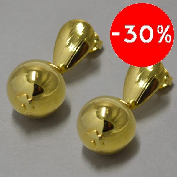 Joyas bañadas en oro por mayor, Aros. Enchape oro 18K forma de gota y una pelotita de 35mm-Súper Ofertas-OFERTA JOYAS BAÑADAS-EE0084