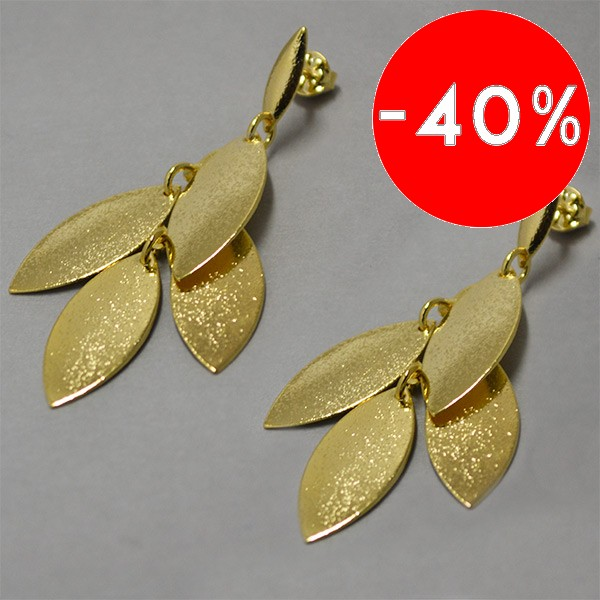 Joyas bañadas en oro por mayor, Aros. Enchape oro 18K forma de hojas satinadas con tornillo largo 40-Súper Ofertas-OFERTA JOYAS BAÑADAS-EE0110