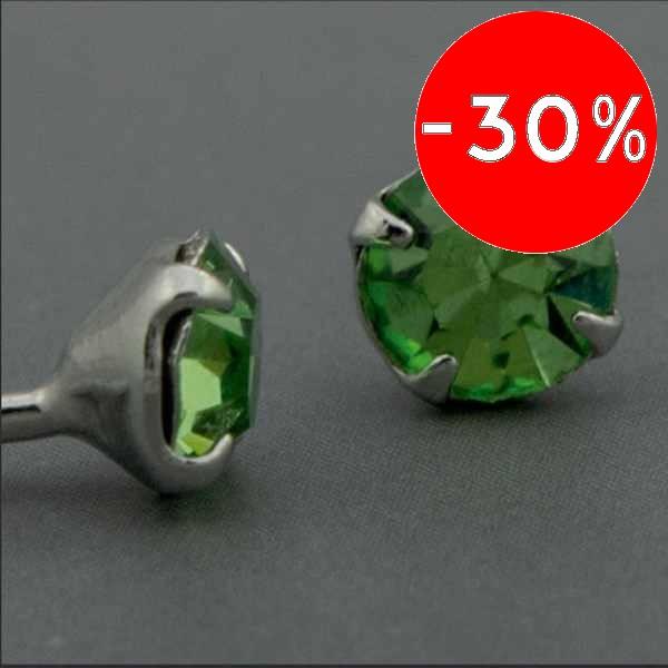 Joyas bañadas en oro por mayor, Aros. aro de 4mm y circón verde, ideal para niñitas-Joyas Banadas-Aros-EE0224AV