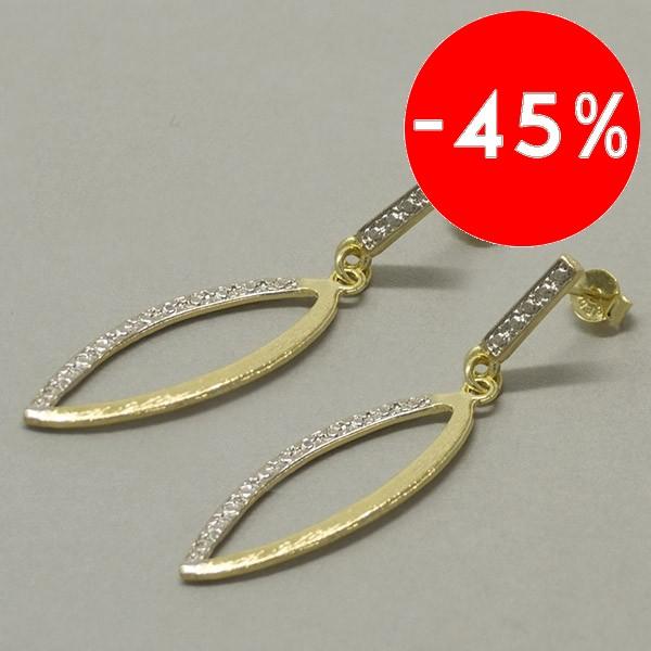 Joyas bañadas en oro por mayor, moderno diseño bicolor, largo 5 cm-Joyas Banadas-Aros-EE0601
