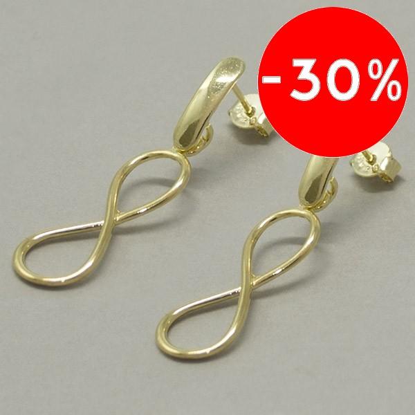Joyas bañadas en oro por mayor, símbolo del infinito, largo 3,8 cm-Joyas Banadas-Aros-EE0602