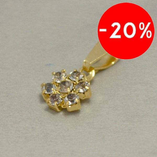 Joyas bañadas en oro por mayor, femenino diseño con circones, tamaño 1,5 cm-Joyas Banadas-Colgantes-PE0069