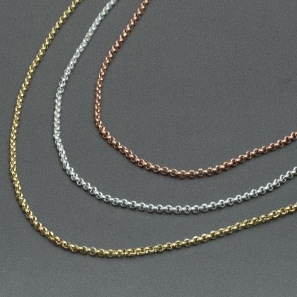 Joyas bañadas en oro por mayor, delicado collar de tres colores oro, plata ,cobre, largo 24 cm-Joyas Banadas-Collares-NE0034