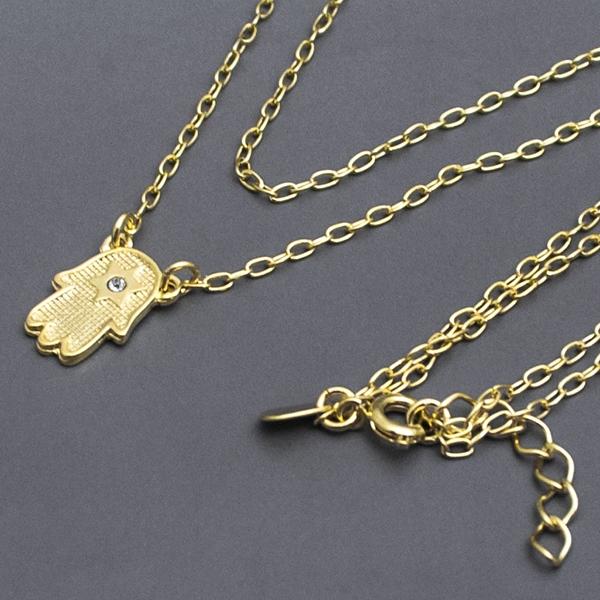 Joyas bañadas en oro por mayor, collar de jamsa, largo 25 cm-Joyas Banadas-Collares-NE0036