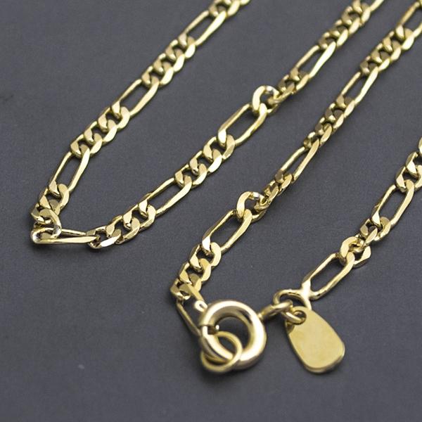Joyas bañadas en oro por mayor, cadena eslabón cartier,2 mm de ancho y 22 cm largo-Joyas Banadas-Collares-NE0039
