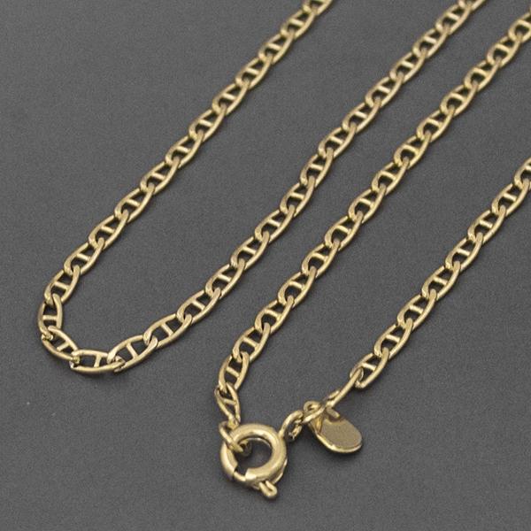 Joyas bañadas en oro por mayor, cadena eslabón plano de 3 mm de ancho y 22 cm de largo-Joyas Banadas-Collares-NE0040