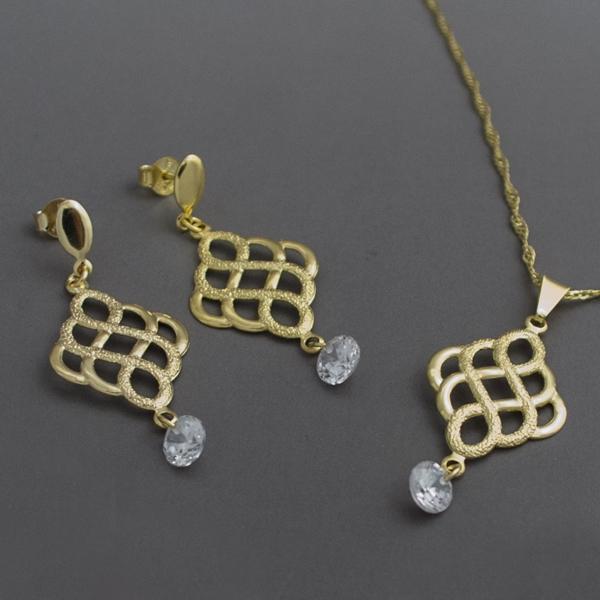 Joyas bañadas en oro por mayor, bañado en oro con un pequeño circón, largo de cadena 25 cm, largo d-Joyas Banadas-Collares-CE0013