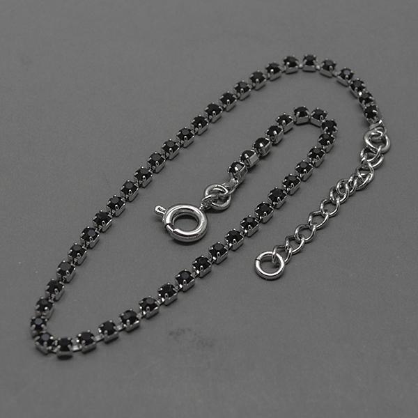 Joyas bañadas en oro por mayor, Pulsera, pulsera bañada en plata con pequeños circones negros, largo-Joyas Banadas-Pulseras-BE0035AN