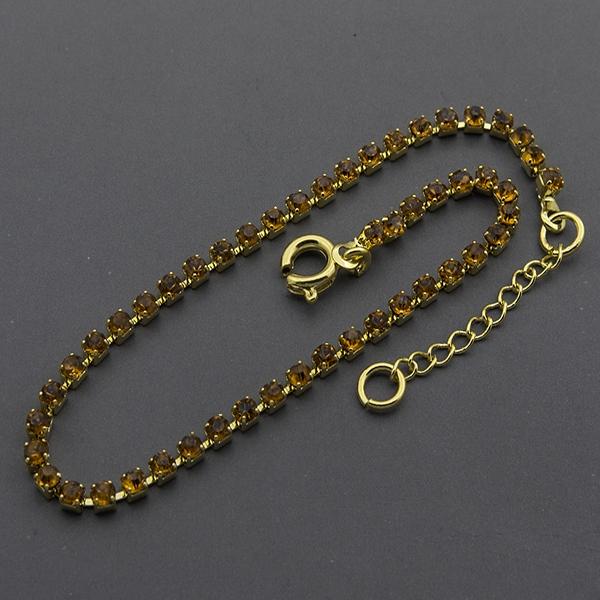 Joyas bañadas en oro por mayor,Pulsera, pulsera bañada en oro delgada, de 18cm con circones café eng-Joyas Banadas-Pulseras-BE0035C