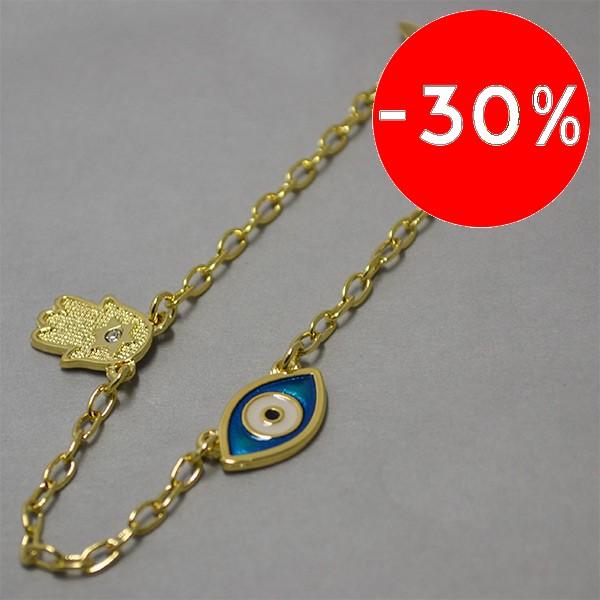 Joyas bañadas en oro por mayor, amuleto de protección, largo 20 cm-Joyas Banadas-Pulseras-BE0062