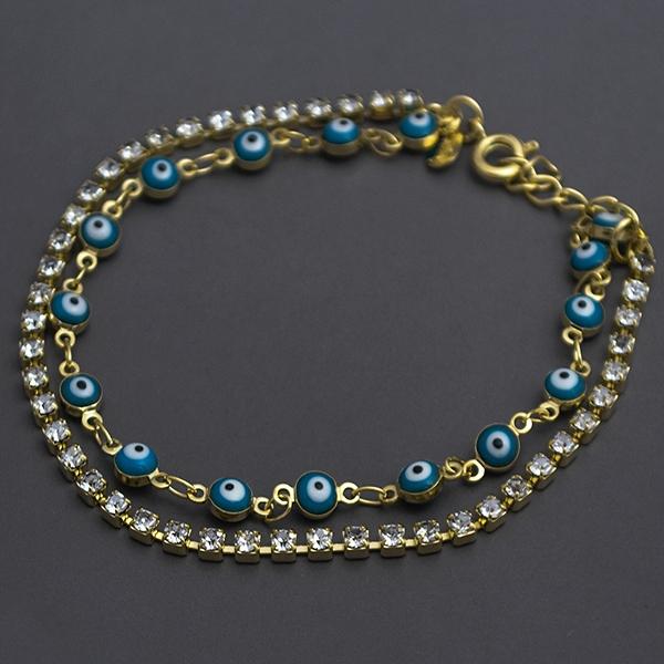 Joyas bañadas en oro por mayor, diseño de cadenas dobles con ojitos turcos, largo 20 cm-Joyas Banadas-Pulseras-BE0065