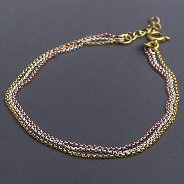 Joyas bañadas en oro por mayor, delicado diseño en tres colores oro, plata ,cobre , largo 19 cm-Joyas Banadas-Pulseras-BE0067