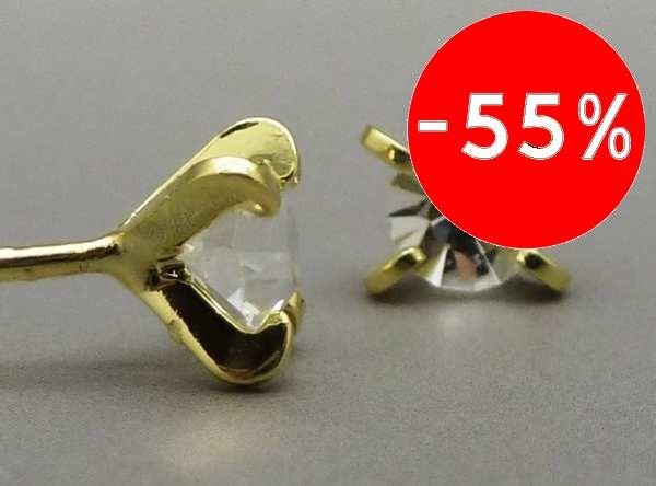 Joyas bañadas en oro por mayor, Aros. Aro bañado en oro con cristal brillante de 3mm-Joyas Banadas-Aros-EE0228