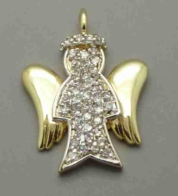 Joyas bañadas en oro por mayor, colgante. Colgante en forma de angel alas doradas y cuerpo rodinado-Súper Ofertas-CYBERKHALA HASTA EL JUEVES-PE0041