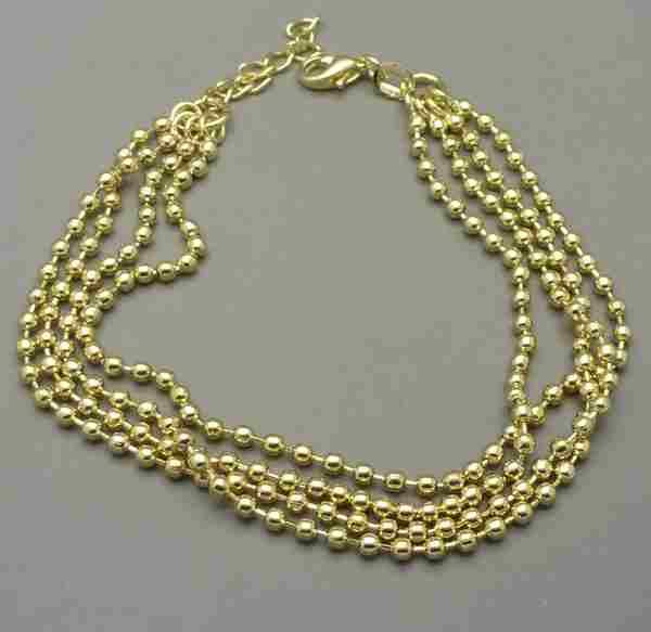 Joyas bañadas en oro por mayor,Pulsera, cuatro cadenas en color amarillo, con cadena de ajuste-Joyas Banadas-Pulseras-BE0039L