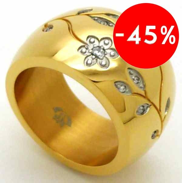 Joyas de acero quirurgico por mayor, anillos. anillo forma de barril dorado diseño flores y hojas-Joyas de Acero-Anillos-RA0002