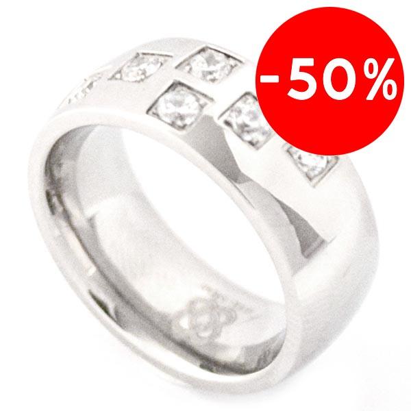 Joyas de acero quirurgico por mayor, anillos. anillo delgado con 6 circones alternados-Joyas de Acero-Anillos-RA0026