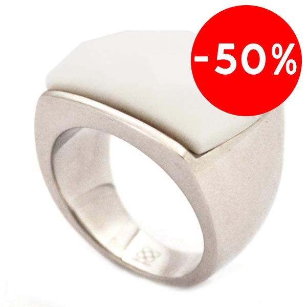 Joyas de acero quirurgico por mayor, anillos. anillo piedra blanca cuadrada facetada-Joyas de Acero-Anillos-RA0033