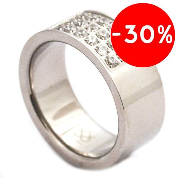Joyas de acero quirurgico por mayor, anillos. anillo grueso brillante con 18 circones en medio que-Joyas de Acero-Anillos-RA0095