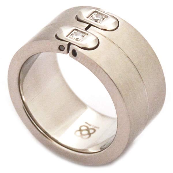 Joyas de acero quirurgico por mayor, anillos. anillo grueso satinado con 2 bisagras y 2 circones en-Joyas de Acero-Anillos-RA0102L