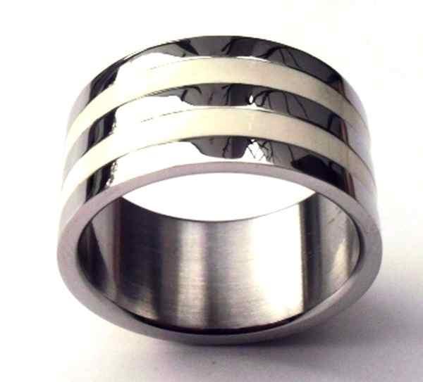 Joyas de acero quirurgico por mayor, anillos. anillo tubo de hombre esmaltado con 2 lineas blancas-Joyas de Acero-Hombres-RA0154