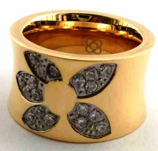 Joyas de acero quirurgico por mayor, anillos. anillo grueso dorado con diseño de flor y engaste de-Joyas de Acero-Anillos-RA0210