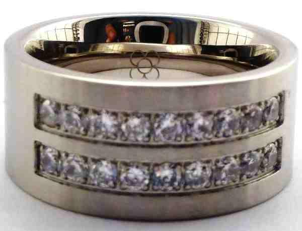 Joyas de acero quirurgico por mayor, anillos. anillo gueso satinado con 2 lineas de circones separa-Joyas de Acero-Anillos-RA0221