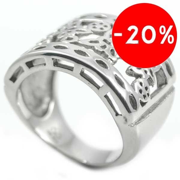 Joyas de acero quirurgico por mayor, anillos. anillo ancho con 4 mariposa caladas-Joyas de Acero-Anillos-RA0391