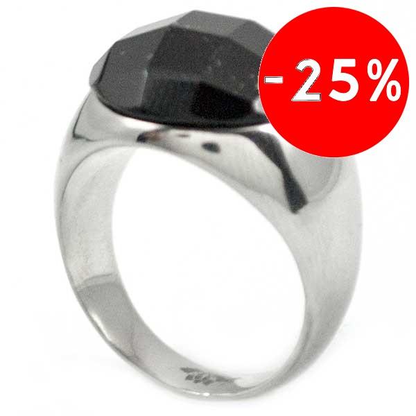 Joyas de acero quirurgico por mayor, anillos. Anillo acero con piedra redonda de 10mm negra facetad-Joyas de Acero-Anillos-RA0465