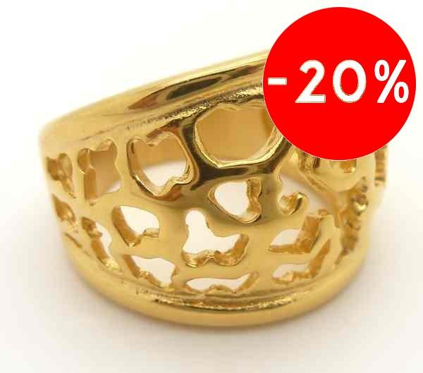 Joyas de acero quirurgico por mayor, anillos. Anillo acero ionizada dorado con calados en flor-Joyas de Acero-Anillos-RA0483
