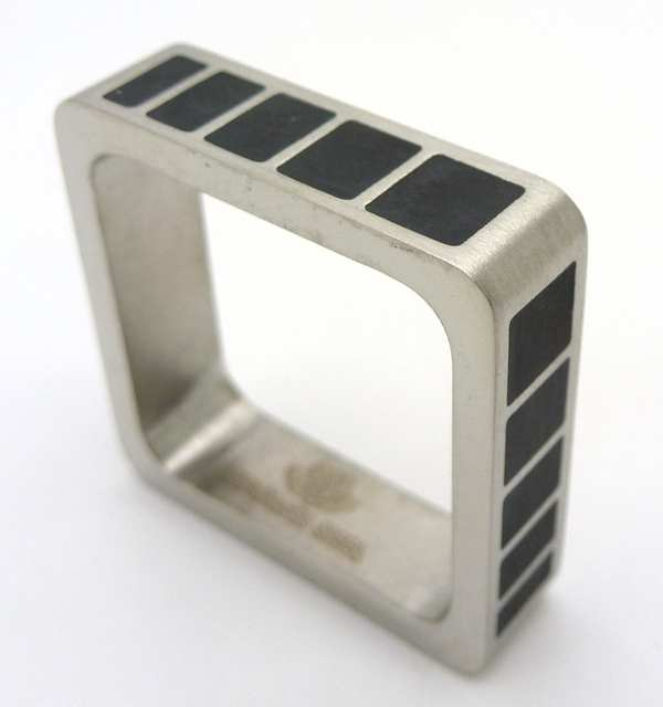 Joyas de acero quirurgico por mayor, anillos. Anillos acero cuadrado con esmaltado negro-Joyas de Acero-Anillos-RA0517
