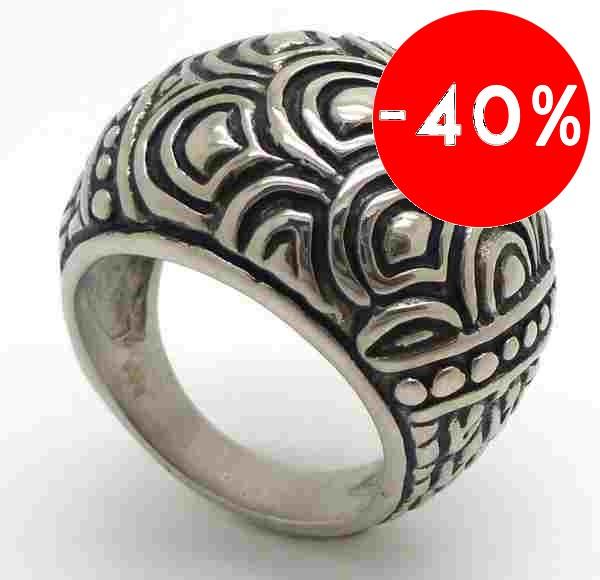 Joyas de acero quirurgico por mayor, anillos. Anillos acero redondeado esmaltado con semicirculos-Joyas de Acero-Anillos-RA0527