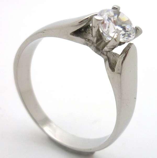 Joyas de acero quirurgico por mayor, anillos. Anillo acero solitario con circon blanco cuadrado-Joyas de Acero-Anillos-RA0536
