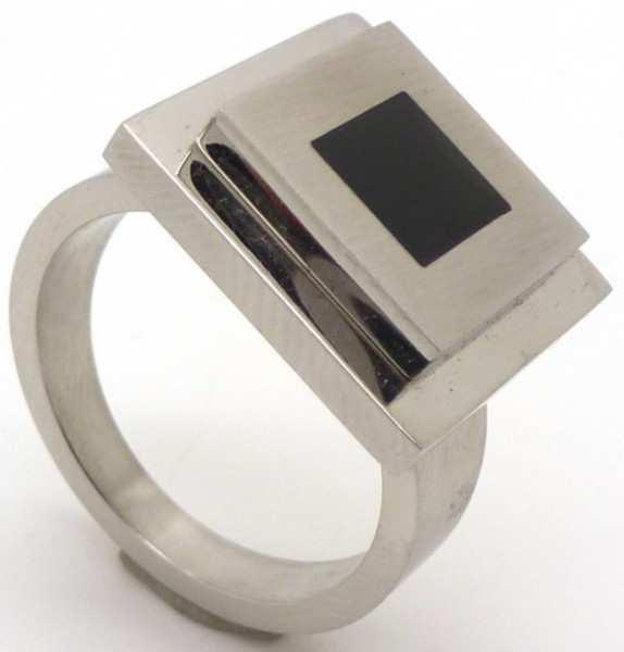Joyas de acero quirurgico por mayor, anillos. Anillo cuadrado con aplicación esmaltada negra-Joyas de Acero-Anillos-RA0566