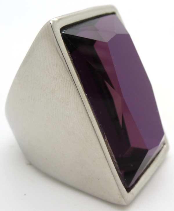 Joyas de acero quirurgico por mayor, anillos. Anillo acero rectangular con cristal color morado obi-Joyas de Acero-Anillos-RA0602