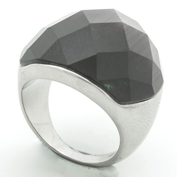 Joyas de acero quirurgico por mayor, anillos. anillo de acero con cristal morado facetado y borde d-Joyas de Acero-Anillos-RA0604OM
