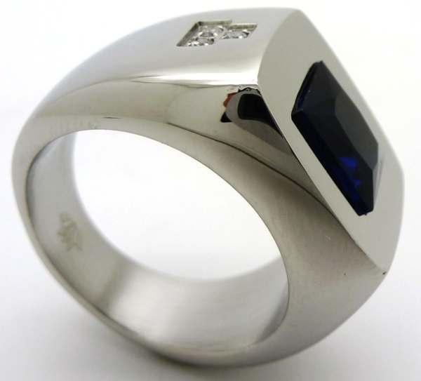 Joyas de acero quirurgico por mayor, anillos. Anillo acero grueso con superficie cuadrada circones-Joyas de Acero-Anillos-RA0606B