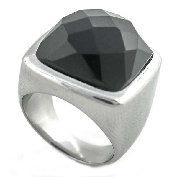 Joyas de acero quirurgico por mayor, anillos.Anillo con cristal negro faceteado-Joyas de Acero-Anillos-RA0615N