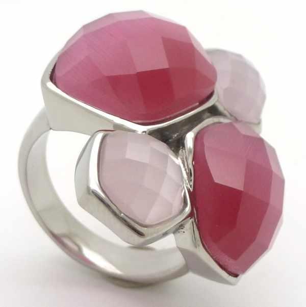 Joyas de acero quirurgico por mayor, anillos. Anillo acero con aplicaciones de critales rosados en-Joyas de Acero-Anillos-RA0620P