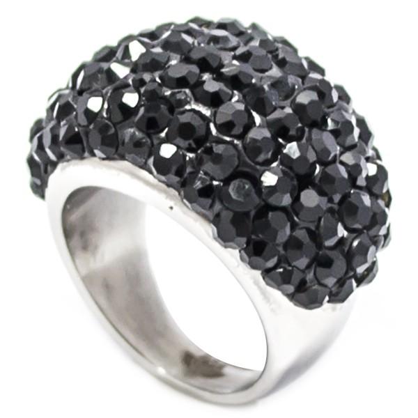 Joyas de acero quirurgico por mayor, anillos. Anillo acero ovalado con cristales negros-Joyas de Acero-Anillos-RA0627