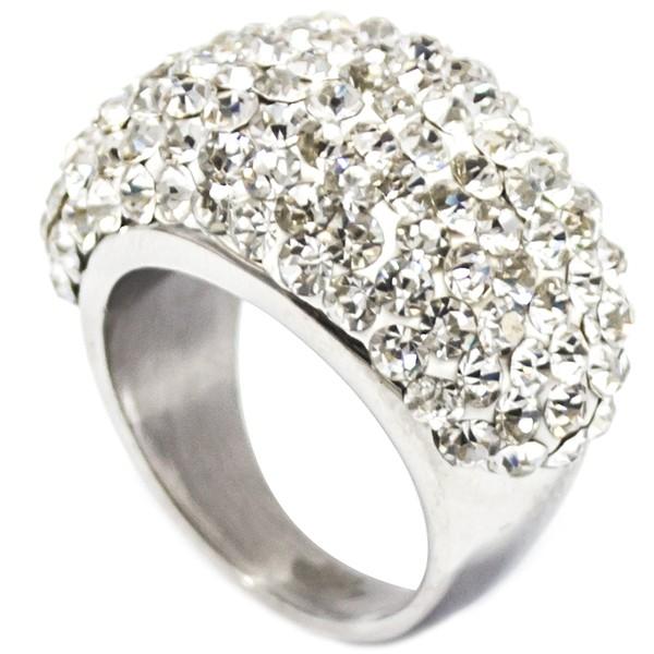 Joyas de acero quirurgico por mayor, anillos. Superficie masa alemana con circones color cristal, b-Joyas de Acero-Anillos-RA0627C