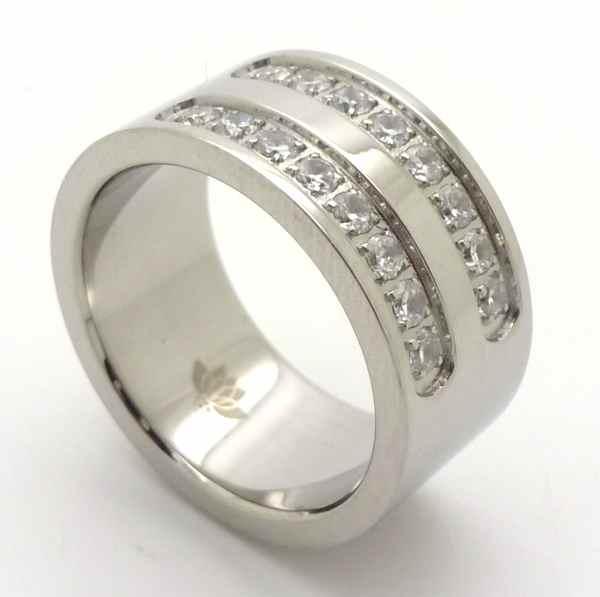 Joyas de acero quirurgico por mayor, anillos. Un clásico cintillo doble de 10 mm de ancho. Exclusiv-Joyas de Acero-Anillos-RA0653
