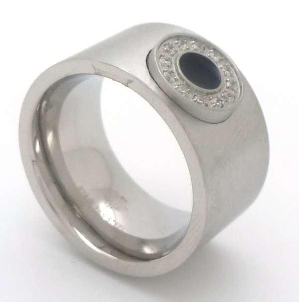 Joyas de acero quirurgico por mayor, anillos. Anillo forma de tubo de 12 mm, con aplicación circula-Joyas de Acero-Anillos-RA0671