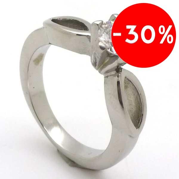 Joyas de acero quirurgico por mayor, anillos. solitario con circón redondo de 5 mm-Joyas de Acero-Anillos-RA0694