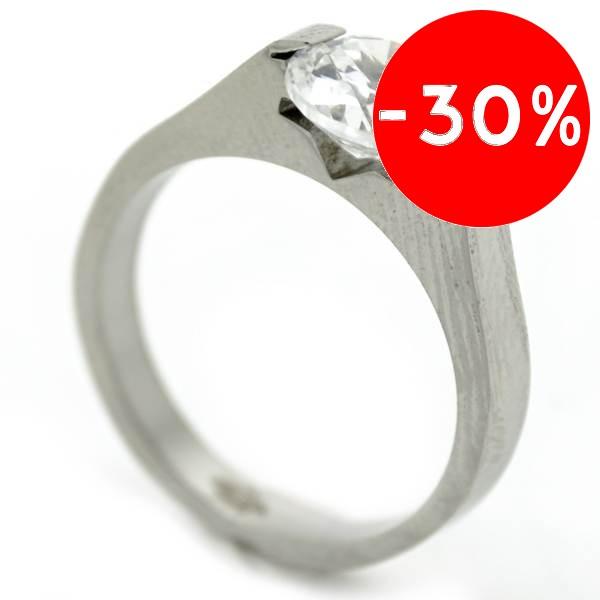 Joyas de acero quirurgico por mayor, anillos. Corte moderno para cintillo, con circón redondo de ap-Joyas de Acero-Anillos-RA0716