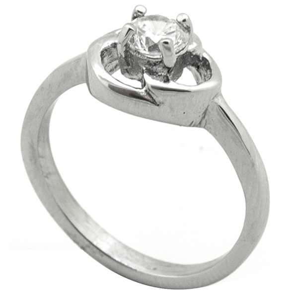 Joyas de acero quirurgico por mayor, anillos. de estilo solitario, clásico. Anillo de acero con cir-Joyas de Acero-Anillos-RA0773