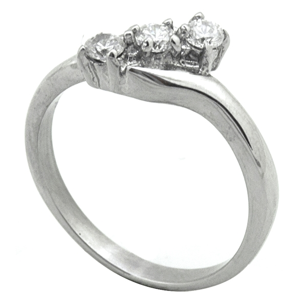 Joyas de acero quirurgico por mayor, Anillos, anillo acero con dos circones entrelazados-Joyas de Acero-Anillos-RA0780