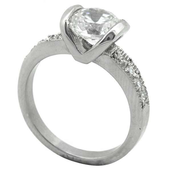 Joyas de acero quirurgico por mayor, anillos. anillo estilo solitario con circones en los costados-Joyas de Acero-Anillos-RA0786