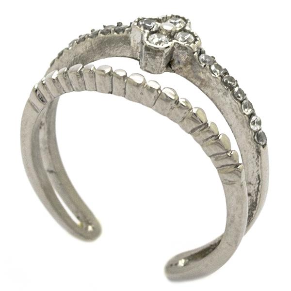 viste tu mano con este delicado diseño doble con circones y una pequeña flor-Joyas de Acero-Anillos-RA0841